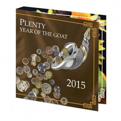 """Сребърна монета с частично позлатяване """"Изобилие и закрила,Годината на Козата"""" 2015"""