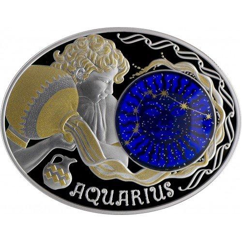 """Сребърна монета """"Зодиакални знаци - Водолей"""""""