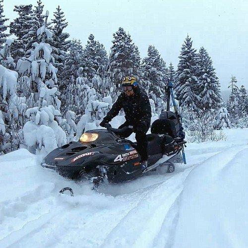 30 min. snowmobile @ Rila. Romance or extreme in the winter mountain.
