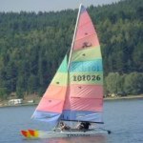 Catamaran Hobie Cat 16 Sailing with an Instructor Onboard, Basic Sailing Technics and a Lesson in Yachting